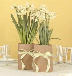 paper bag floral wedding centerpieces