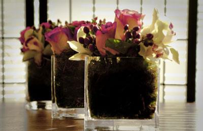 square, glass, floral wedding centerpieces