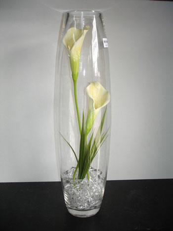 Tall glass floral wedding centrepiece