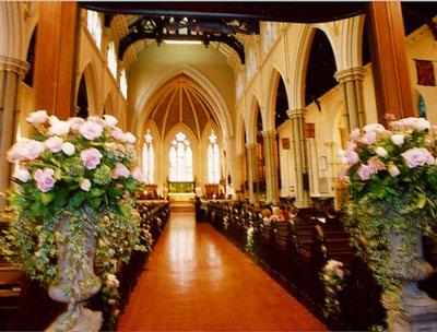 Floral décor, church wedding ceremony