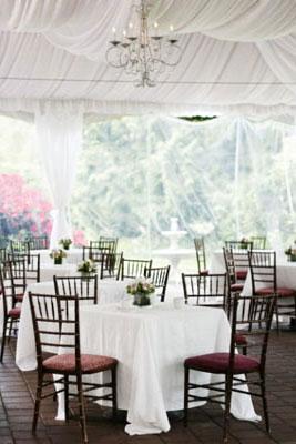 Elegant & subtle floral centerpieces on a white theme wedding reception