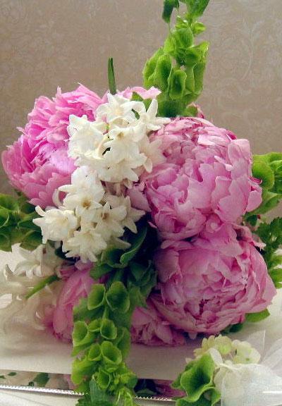 Spring Wedding Flowers: Peony & Hyacinth bridal bouquet