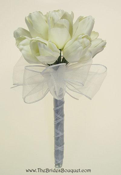 Spring Wedding Flowers: white tulip bridal bouquet