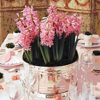 Hyacinth flower centrepiece