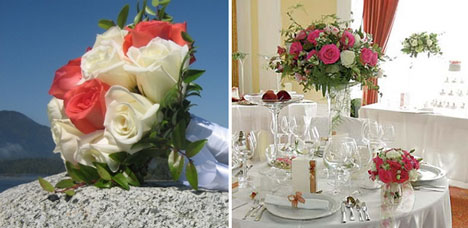Wedding flowers: roses, in a bouquet and in a centerpiece