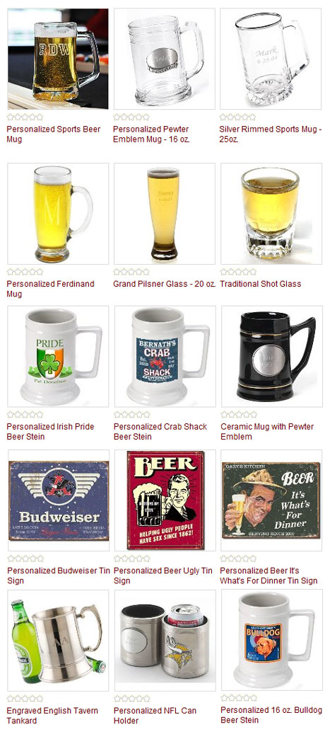 Personalized beer mugs, pub signs, bar glasses : for the groomsmen