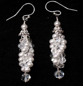 Twist, pearl and crystal bridal earrings