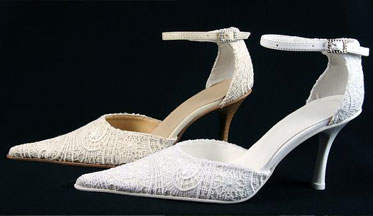 Lace bridal shoes, ivory and stark white
