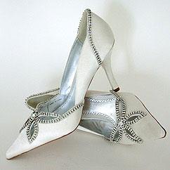 Rhinestone-trimmed bridal shoes