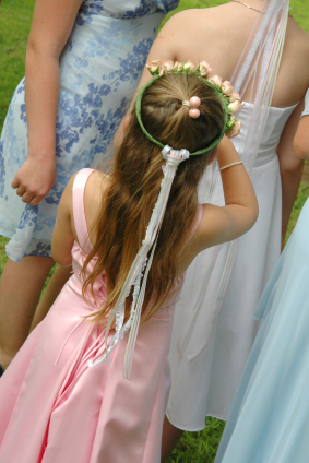 little girl at wedding reception